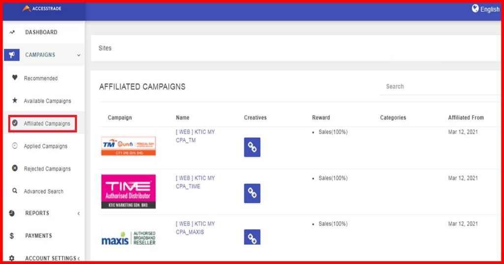 Accesstrade Affiliated Campaigns