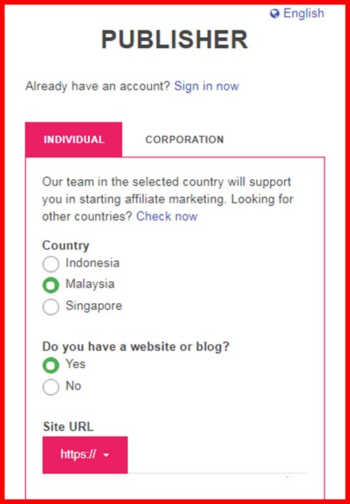 Sigup Accesstrade Malaysia Individual Corporation